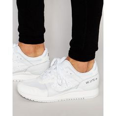 Asics Gel-Lyte III Mono Sneakers ($146) ❤ liked on Polyvore featuring men's fashion, men's shoes, men's sneakers, white, mens white sneakers, asics mens shoes, mens breathable shoes and mens white shoes