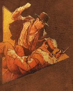 "There's been a ""punch a Nazi"" meme going around with a still of Indiana Jones fighting a Nazi. I knew I remembered an artistic rendering of that punch. Sure enough. Drew Struzan used the pose for his cover to one of the Indy novels."