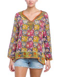 """Rue La La — Tolani """"Julie"""" Multicolor Silk Printed Top"""