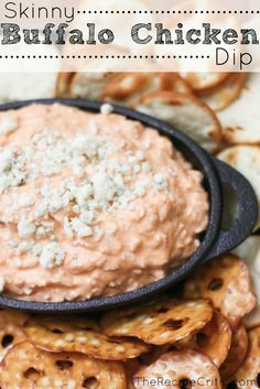 Skinny Buffalo Chicken Dip at https://therecipecritic.com  This is such a delicious appetizer with a little kick!  Perfect for any party!