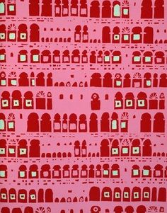 Collonade Wallpaper, designed by Palladio Wallpapers & produced by the Lightbown Aspinall branch of the Wallpaper Manufacturers Ltd. England, 1955