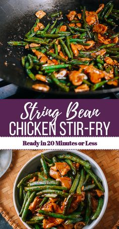 This String Bean Chicken Stir-fry is another weeknight staple from me, The Woks of Life's resident lazy weeknight cook. recipes for two recipes fry recipes String Bean Recipes, Green Bean Recipes, Stir Fry Greens, Healthy Dinner Recipes, Cooking Recipes, Chicken Green Beans, Healthy Stir Fry, Chicken Stir Fry, Asian Food Recipes