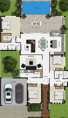 house plans one story ; house plans with wrap around porch ; house plans with in law suite ; house plans with basement House Layout Plans, Dream House Plans, Modern House Plans, House Layouts, Small House Plans, House Floor Plans, Single Storey House Plans, Custom Floor Plans, Modern Floor Plans