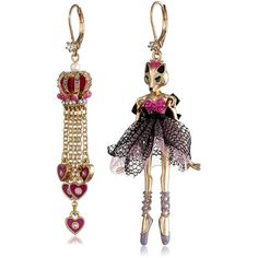 """Betsey Johnson """"Imperial Princess"""" Fox Girl and Crown Mismatch Drop Earrings"""