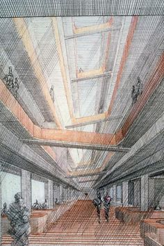 New Haven Government Center, New Haven, Connecticut. Interior. Perspective rendering   Paul Rudolph & His Architecture