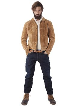 Suede Jacket with Shawl Collar Sweater and Jeans. #jeans #suedejacket