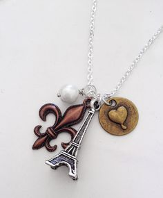 Amore Pendant - french inspired jewelry with Eiffel Tower, fleur de lis, bronze heart and pretty pearl :) I LOVE baubles!
