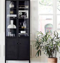 Living Room Display Furniture, Living Room Display Cabinet, Living Room Cabinets, Living Room Storage, Display Cabinets, Curio Cabinets, Black Display Cabinet, Curio Cabinet Ikea, China Cabinets
