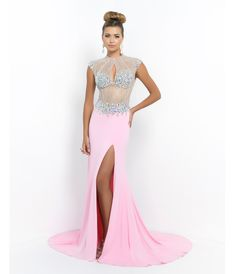 Pink Beaded Open Back #Prom Gown #uniqueprom