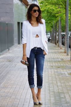 For Women,Best Combinations Jeans,Blazer And Shirts In Spring Trendy Outfits, Cute Outfits, Jean Outfits, Fashion Pants, Fashion Outfits, Fashion Looks, Work Fashion, Blazer With Jeans, Sweaters And Jeans