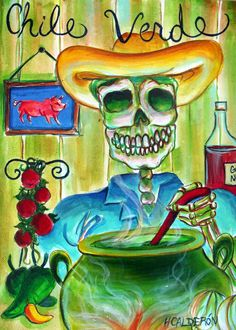 Day of the Dead 'Chile Verde' signed print by artist by HCalderon, $10.00
