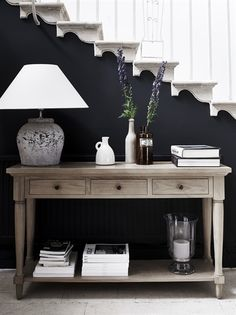 Black sofa table decor inspiration of black hallway table and best console table decor ideas on home design foyer decorating cookies with buttercream Sofa Table Decor, Entryway Console Table, Entryway Decor, Table Decorations, Hall Table Decor, Console Table Styling, Sideboard Table, Entrance Decor, Table Lamps