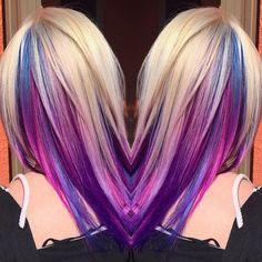 blue lilac underlights in blonde hair