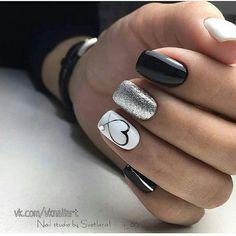 Kinds of Makeup Nails Art Nail Art 134 - Nails - # MakeupNä . , types of makeup nails art nail art 134 - nails - # Makeup nails # nails New Nail Designs, Black Nail Designs, Heart Nail Designs, White Nails With Design, Nail Polish Designs, Fun Nails, Pretty Nails, Love Nails, White And Silver Nails