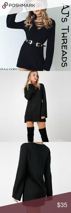 ✨Just In✨Lace up Vneck Long Sleeve Sweater Dress This sexy long sleeve dress features a lace up vneck top, long subtle bell sleeves and slightly thick sweater material.  Bundle and save 10%  Free gift with purchase over $20 Dresses Long Sleeve