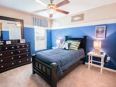 Anchors away! This room is complete with oceanic blue tones and nautical accents. Click to see more photos of this beautiful home!  The Serendipity by Highland Homes. Creative Kids Rooms, Highland Homes, Bedroom Pictures, New House Plans, Florida Home, Blue Tones, Serendipity, Anchors, Home Builders