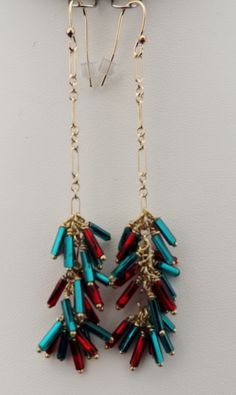 Gold filled chain earrings made with Czech Glass Bugle beads. No two pair are identical. $40.00 a pair.