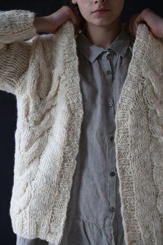 Ichi Cabled Cardigan Ivory