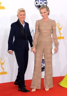 Emmy Awards 2012: Ellen opted for a sleek navy suit while Portia went neutral in a nude-hued jumpsuit.  #Emmys
