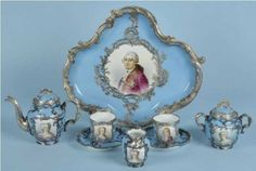 A silver mounted eight piece Sevres porcelain tea set. French, c.1880.