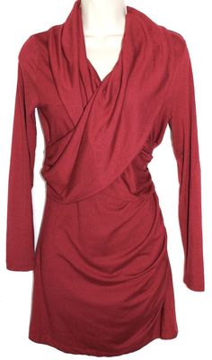 697efa9a1cd77 ISABELLA OLIVER Maternity Dark Red Surplice L/S Faux Wrap Tunic Ruched Dress  1 S