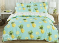 Pineapples Print Fresh Style Cotton 4-Piece Bedding Sets