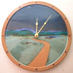 Tree and Landscape Clocks in many assorted colors. Ceramic Clay, Ceramic Pottery, Iron Balusters, Wheel Of Life, Hand Built Pottery, Pottery Classes, Ceramics Projects, Light Project, Handmade Accessories