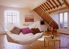 Indoor hammock. Did you know that sleeping on hammock can make you fall asleep faster and deeper?