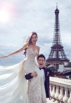 Angelababy's Wedding of the Year // Angelababy in an Elie Saab Couture wedding gown at Shangri-la Hotel, Paris . Paris Wedding, Luxury Wedding, Dream Wedding, Wedding Photoshoot, Wedding Pics, Wedding Ideas, Wedding Beach, Wedding Quotes, Wedding Album