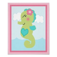 Under the Sea/Girl/Seahorse/Pink Art Poster  Click on photo to purchase. Check out all current coupon offers and save! http://www.zazzle.com/coupons?rf=238785193994622463&tc=pin