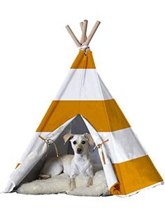 zoovilla Orange Stripe Large Pet Teepee ❤ Merry Products