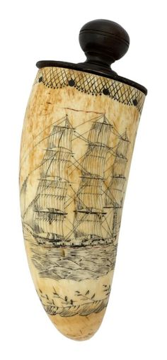 Scrimshaw snuff box, made from sperm whale tooth. Screw access to snuff, mid 19th century