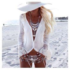 White Boho Beach Outfit Sieraden Kettingen