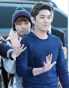 Kangin Sungmin. Kangin looks handsome.