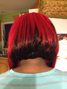 Inverted weave style bob in back