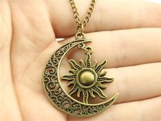 Women Fashion necklace, Crescent Moon and Sun charms Necklace 70CM Sweater chain necklace