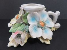 CAPODIMONTE HANDLED FLOWER CANDLE HOLDER WITH CROWN N MARK #CAPODIMONTE