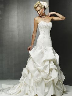 Wedding Dresses Pictures - A-Line Princess Strapless Sweetheart Dropped Satin Wedding Dress - Style WD0194
