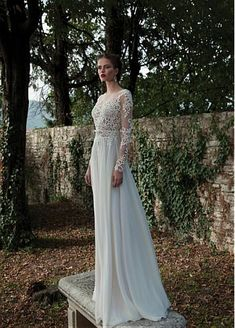Elegant Tulle & Chiffon Bateau Neckline Natural Waistline Sheath Wedding Dress With Beaded Lace Appliques