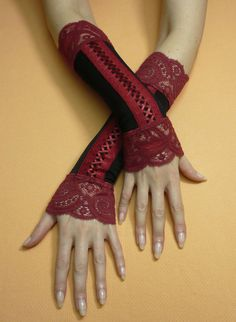 Baroque and Gothic Armwarmers with Stretchy Lace, Fake Corset Fingerless Gloves in Black and Burgundy Mix, Gypsy, Dance, Burlesque Styles