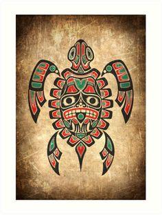 "Red and Green Haida Spirit Sea Turtle"" Art Prints by Jeff Bartels ..."