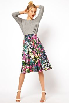 Lady print Florals are huge this season and this ASOS Midi Skirt in Digital Floral Print is an absolute must have this summer 2013