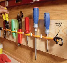 Elastic-Cord Tool Holder Garagenstauraum Clutter-Busting Strategies For Every Room Workshop Storage, Shed Storage, Tool Storage, Garage Storage, Storage Ideas, Garage Workshop, Lumber Storage, Makeup Storage, Storage Solutions