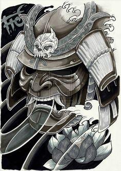 """Képtalálat a következőre: """"japanese samurai helmet tattoo"""""""