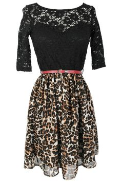 Black and Leopard Print Belted Dress