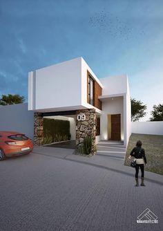 FACHADA PRINCIPAL: Casas de estilo minimalista por FERAARQUITECTOS #casasmodernasinteriores