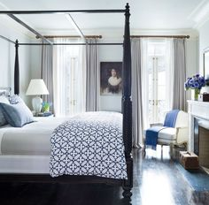 JOHN ROBSHAW TEXTILES: traditional #bedroom design with poster #bed + lovely #window panels