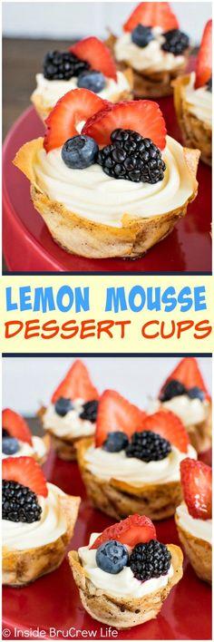 Lemon Mousse Dessert Cups - lemon cheesecake and fresh berries in a fun little dessert cup. Perfect summer dessert recipe!