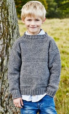 Seagull sweater for youngsters in basic sample - knitting recipe Knitting Patterns Boys, Knitting For Kids, Crochet For Kids, Knitting Projects, Baby Knitting, Crochet Baby, Knit Crochet, Boys Sweaters, Men Sweater