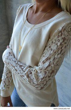 White lace sleeved sweatshirt